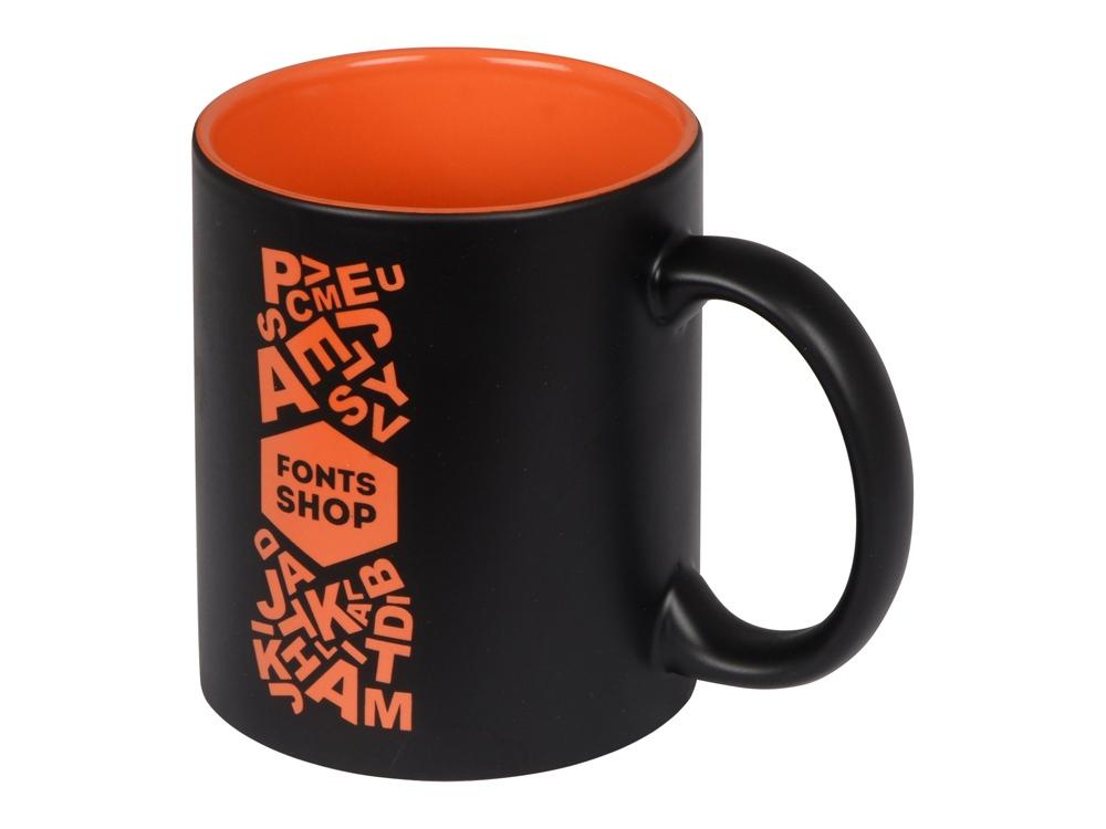 Кружка с покрытием для гравировки Subcolor BLK, черный/оранжевый