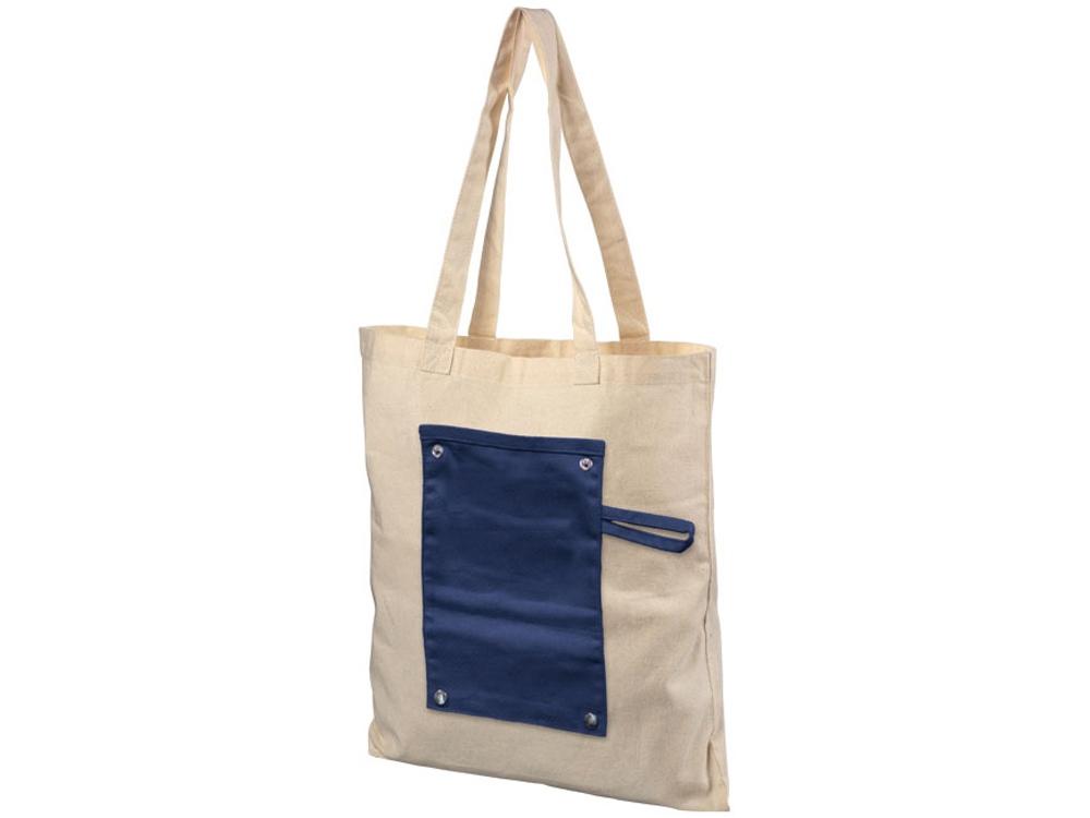 Хлопковая рулонная сумка-тоут на кнопках, темно-синий