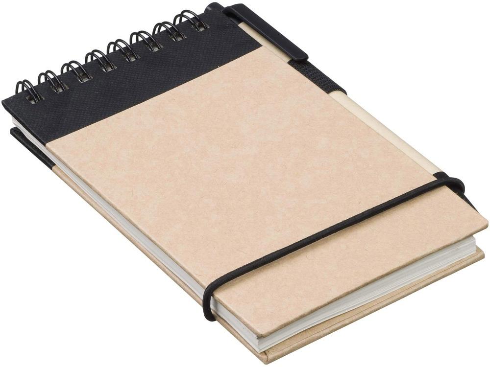 Блокнот А7 Zuse с ручкой шариковой, черный