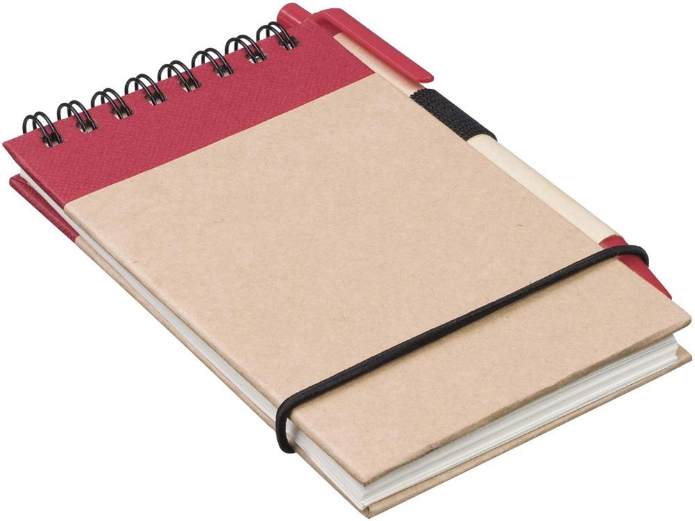 Блокнот А7 Zuse с ручкой шариковой, красный