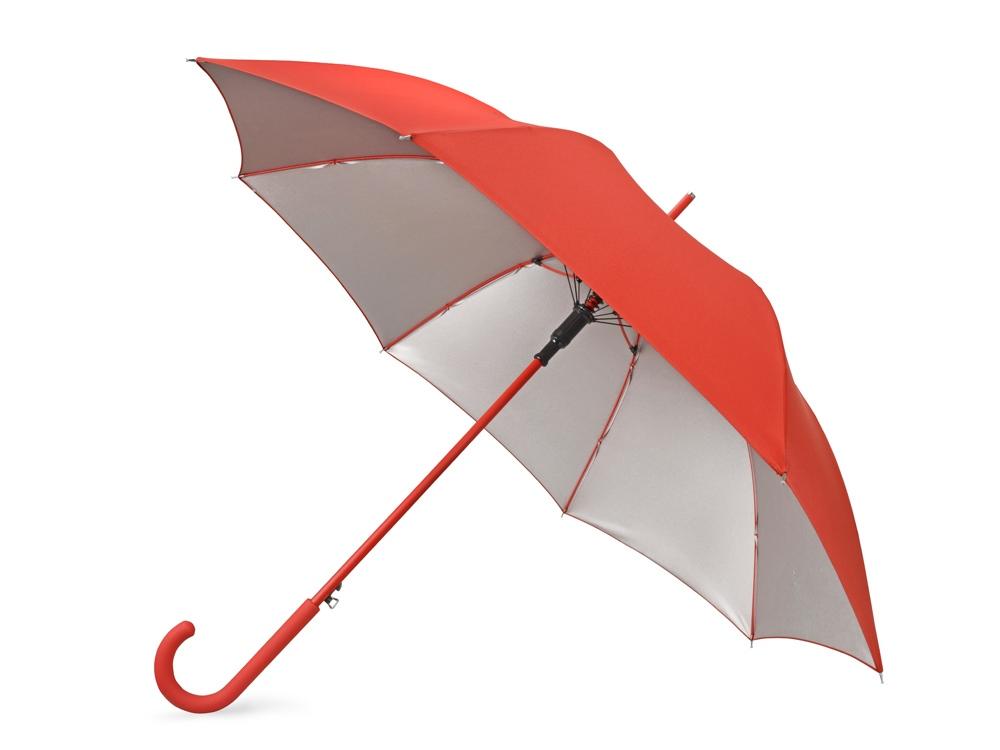 Зонт-трость Silver Color полуавтомат, красный/серебристый