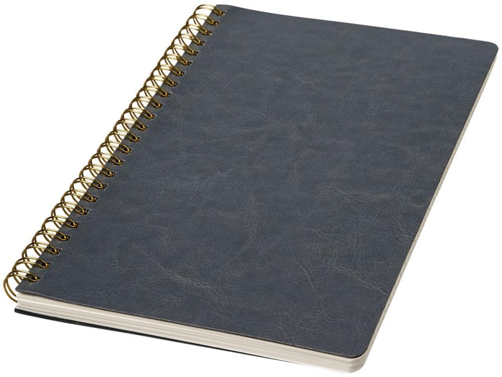 Дневник Spiraly форматаA5 из искусственной кожи, серый
