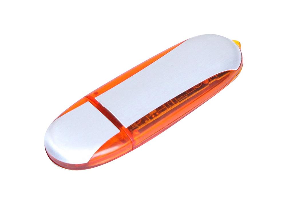 Флешка промо овальной формы, 32 Гб, серебристый/оранжевый