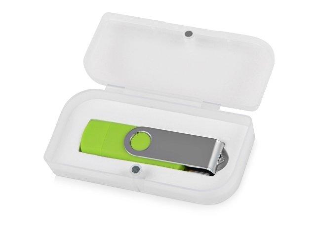 Подарочная коробка для флеш-карт «Бокс» в шубере, белый прозрачный