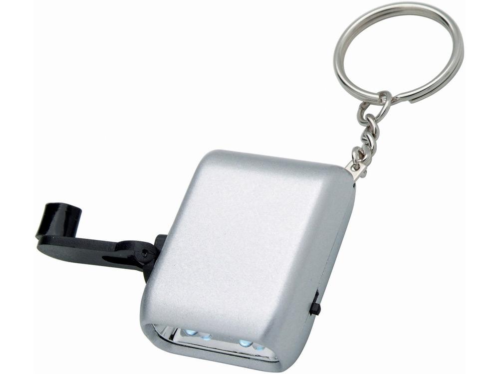 Брелок-фонарик Carina с механической подзарядкой, серебристый