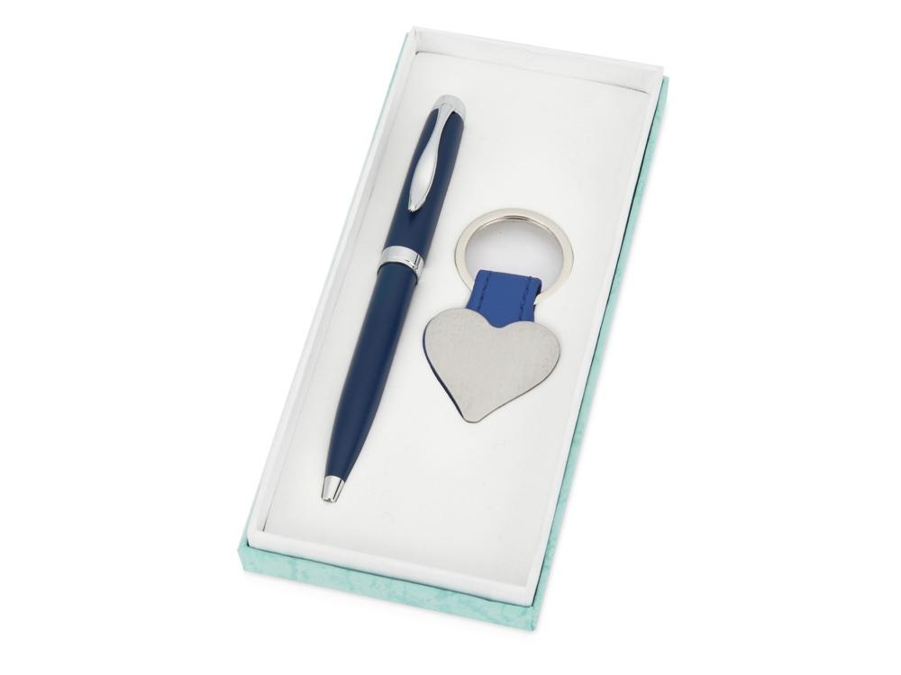 Подарочный набор Сердце: ручка шариковая, брелок, синий