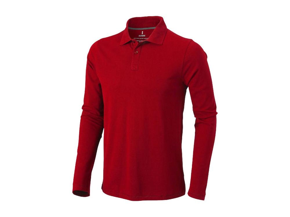 Рубашка поло Oakville мужская с длинным рукавом, красный