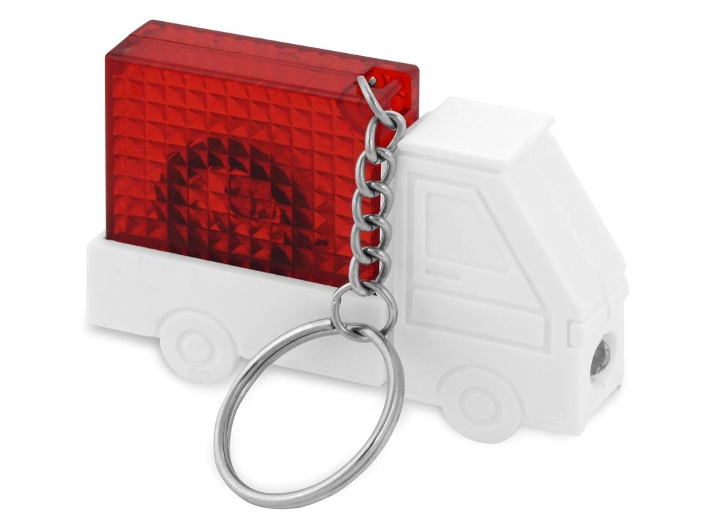 Брелок-рулетка Автомобиль с фонариком, 1 м., белый/красный