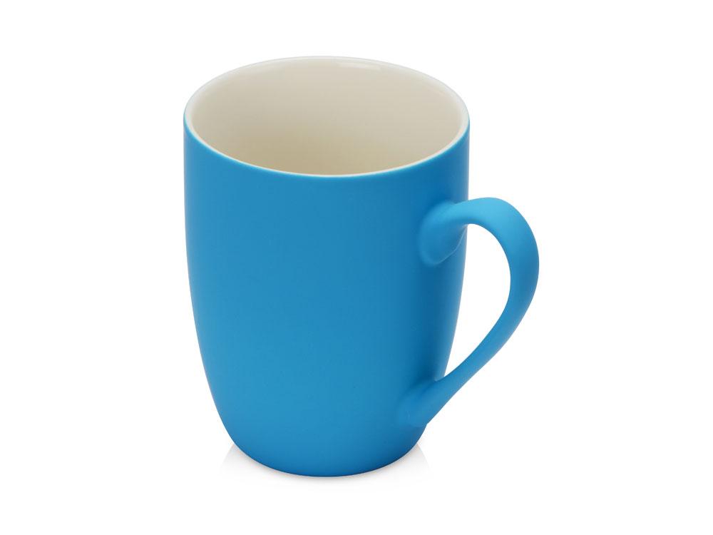 Кружка керамическая с покрытием софт тач голубая