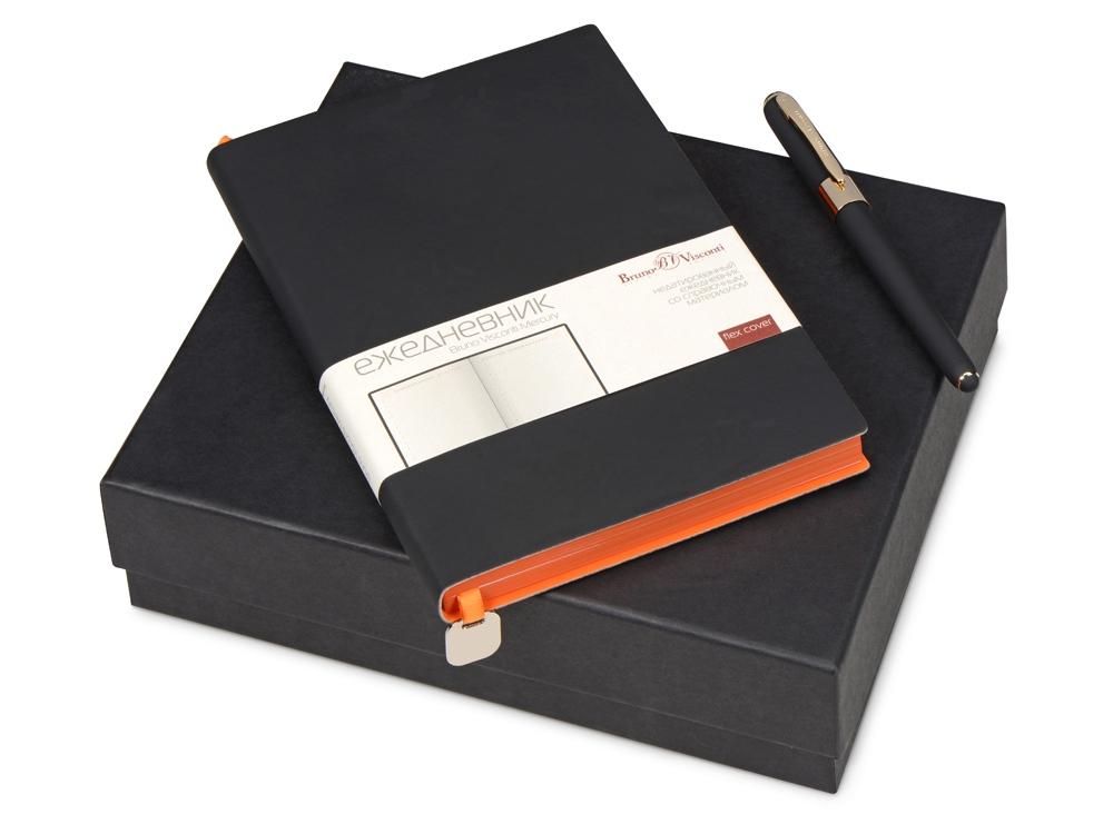 Подарочный набор Bruno Visconti Mercury: ежедневник А5 недатированный, ручка шариковая, черный