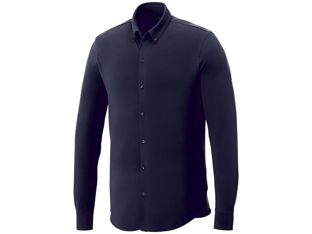 Мужская рубашка Bigelow из пике с длинным рукавом, темно-синий