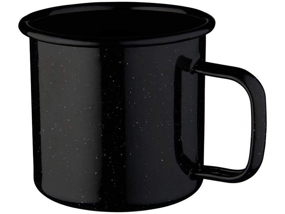 Кружка эмалированная Emal, черный с белым вкраплением