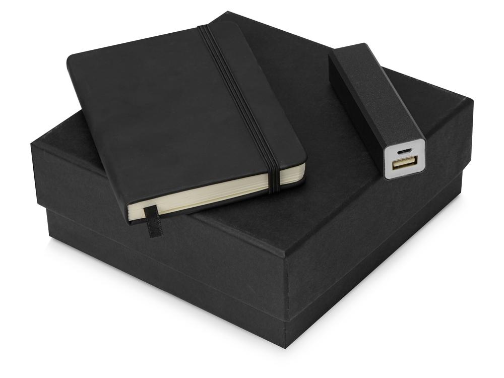 Подарочный набор To go с блокнотом и зарядным устройством, черный