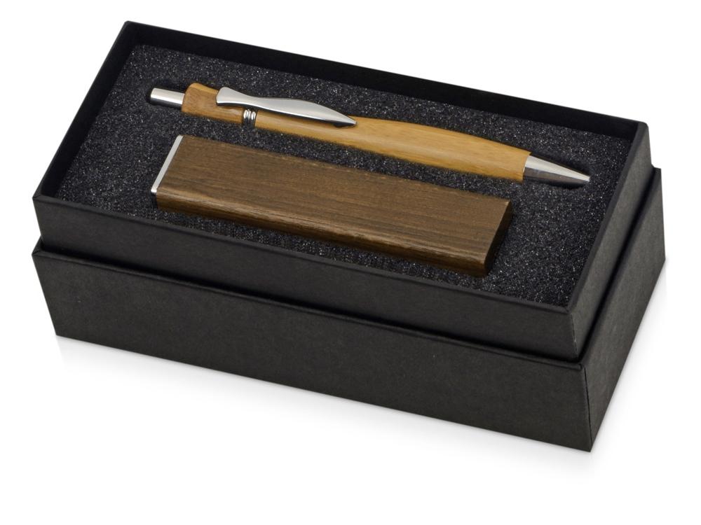 Подарочный набор Kyoto bamboo с ручкой и зарядным устройством, темно-коричневый