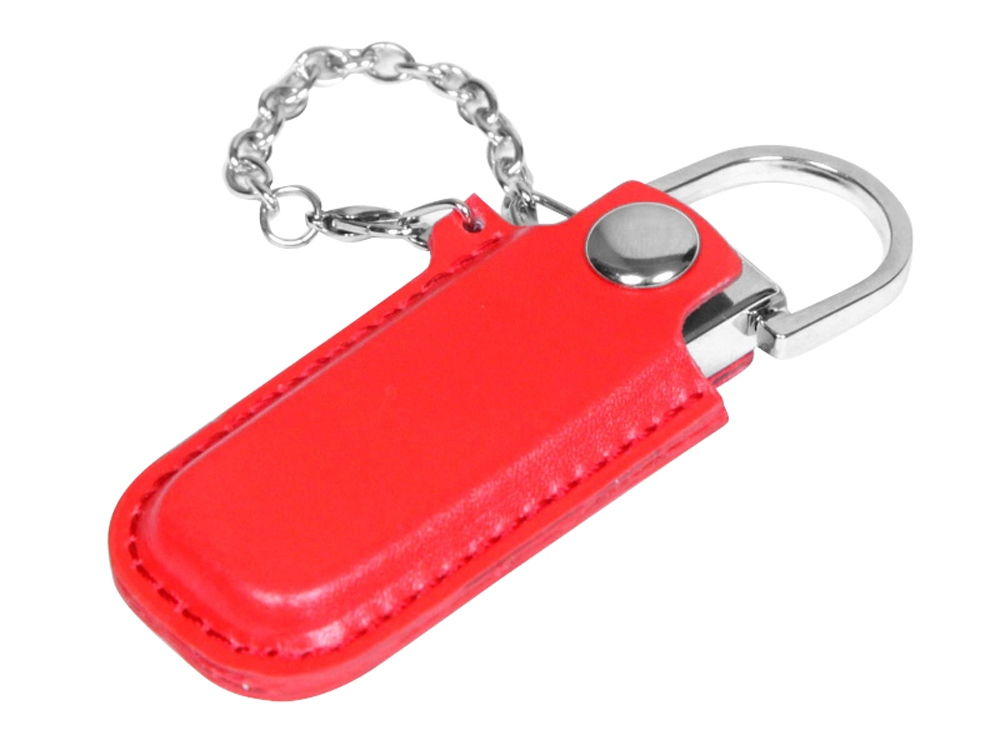 Флешка в массивном корпусе с кожаным чехлом, 32 Гб, красный