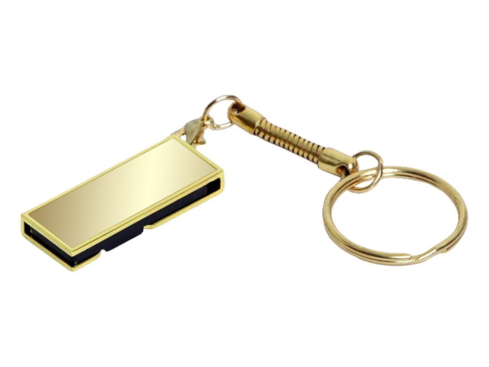 Флешка с мини чипом, поворотный механизм, зеркальное покрытие, 16 Гб, золотистый