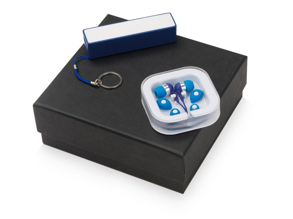 Подарочный набор Non-stop music с наушниками и зарядным устройством, синий