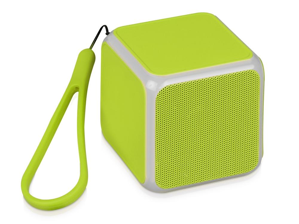 Портативная колонка Cube с подсветкой, зеленое яблоко