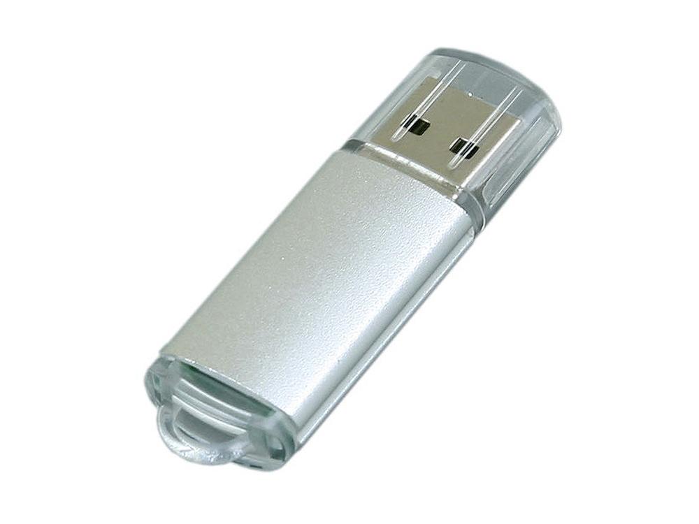 Флешка промо прямоугольной формы  c прозрачным колпачком, 32 Гб, серебристый