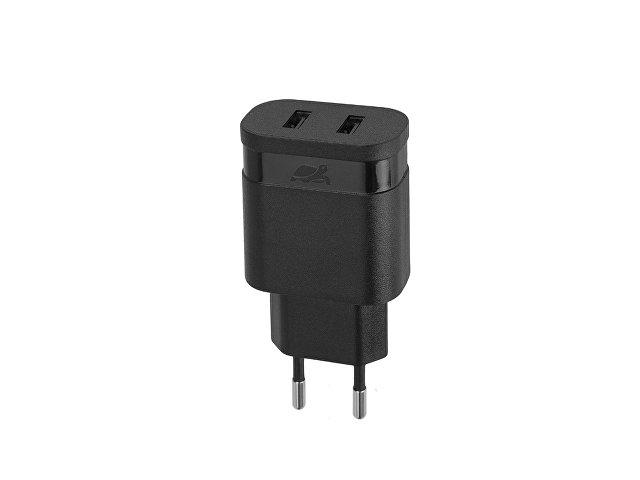 Сетевое зарядное устройство, 2 USB / 2.4 A, черный