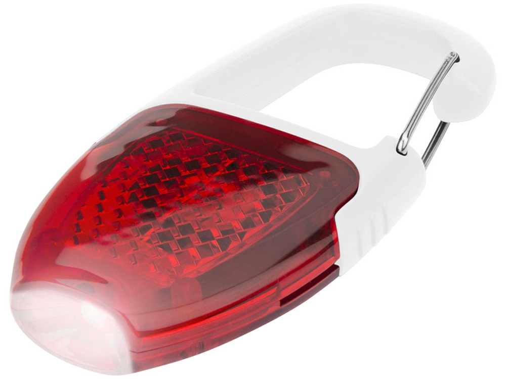 Брелок - фонарик с отражателем и карабином, красный/белый