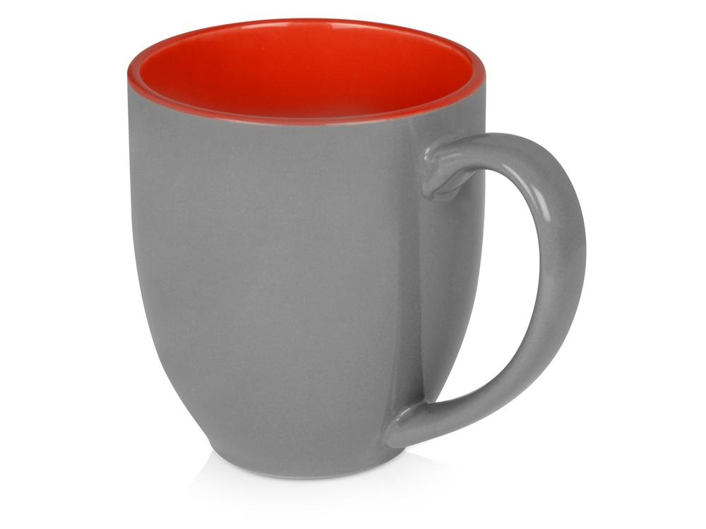 Кружка керамическая Gracy 470мл, серый/красный