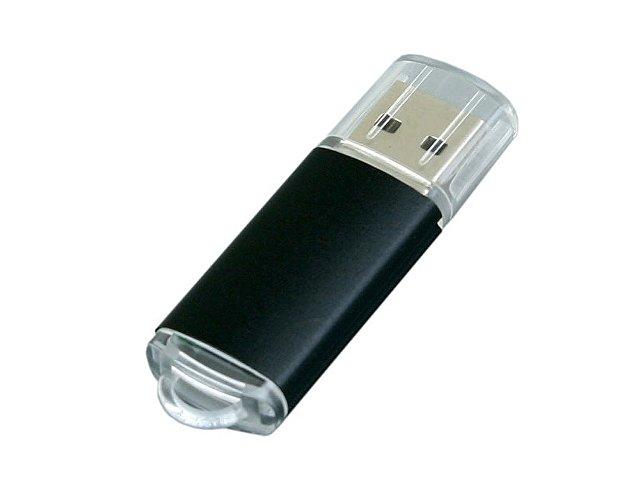 Флешка промо прямоугольной формы  c прозрачным колпачком, 16 Гб, черный