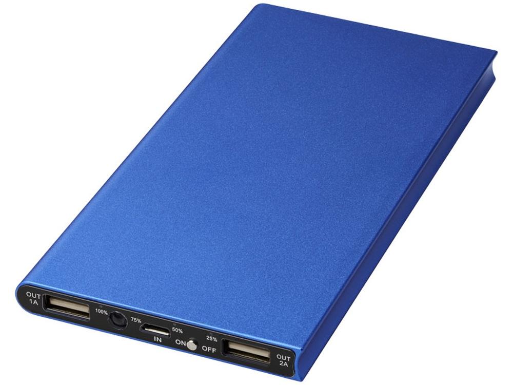 Алюминиевое портативное зарядное устройство Plate 8000мА∙ч, синий