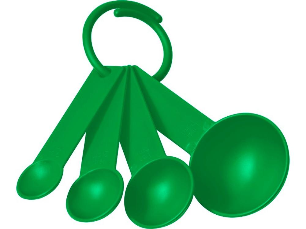 Комплект пластмассовых мерных ложек Ness в 4размерах, зеленый