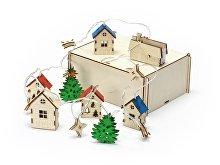 Елочная гирлянда с лампочками «Новогодняя» в деревянной подарочной коробке (арт. 625319)