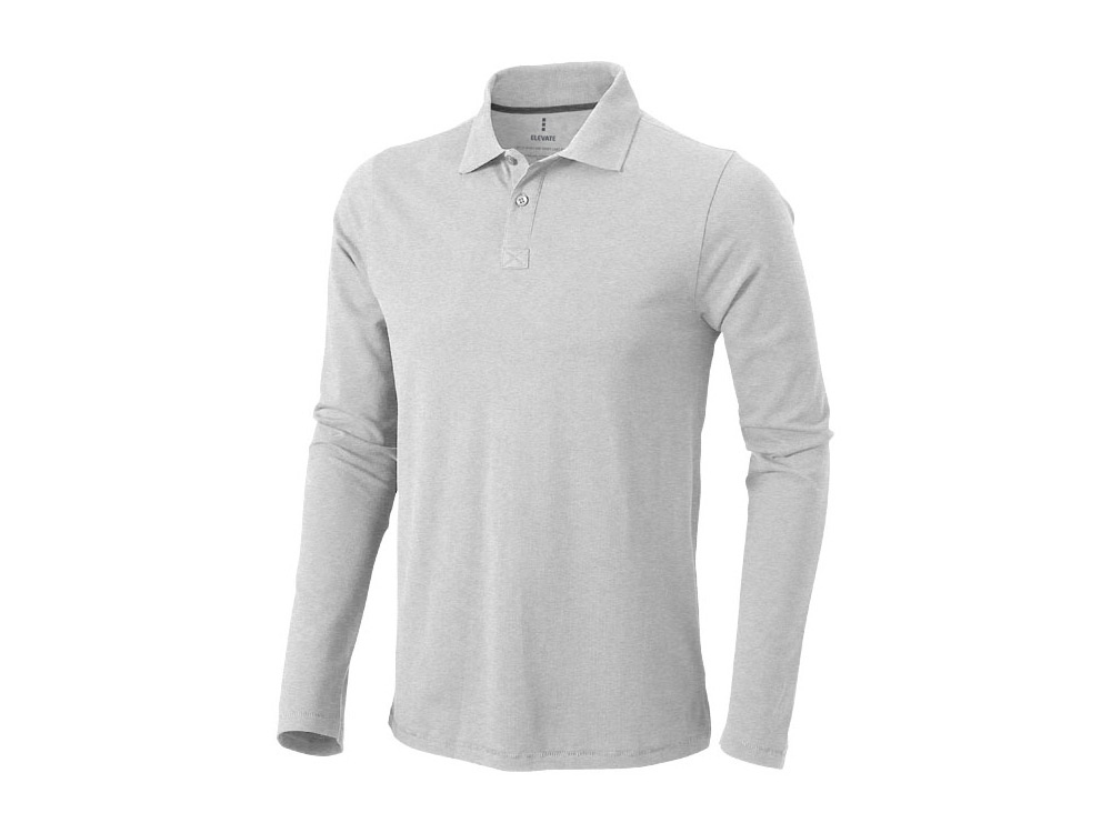Рубашка поло Oakville мужская с длинным рукавом, серый меланж
