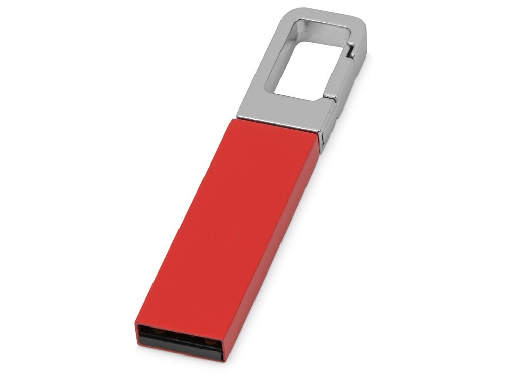 Флеш-карта USB 2.0 16 Gb с карабином Hook, красный/серебристый