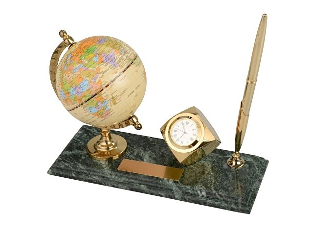 Настольный прибор «Международный бизнес», золотистый/зеленый