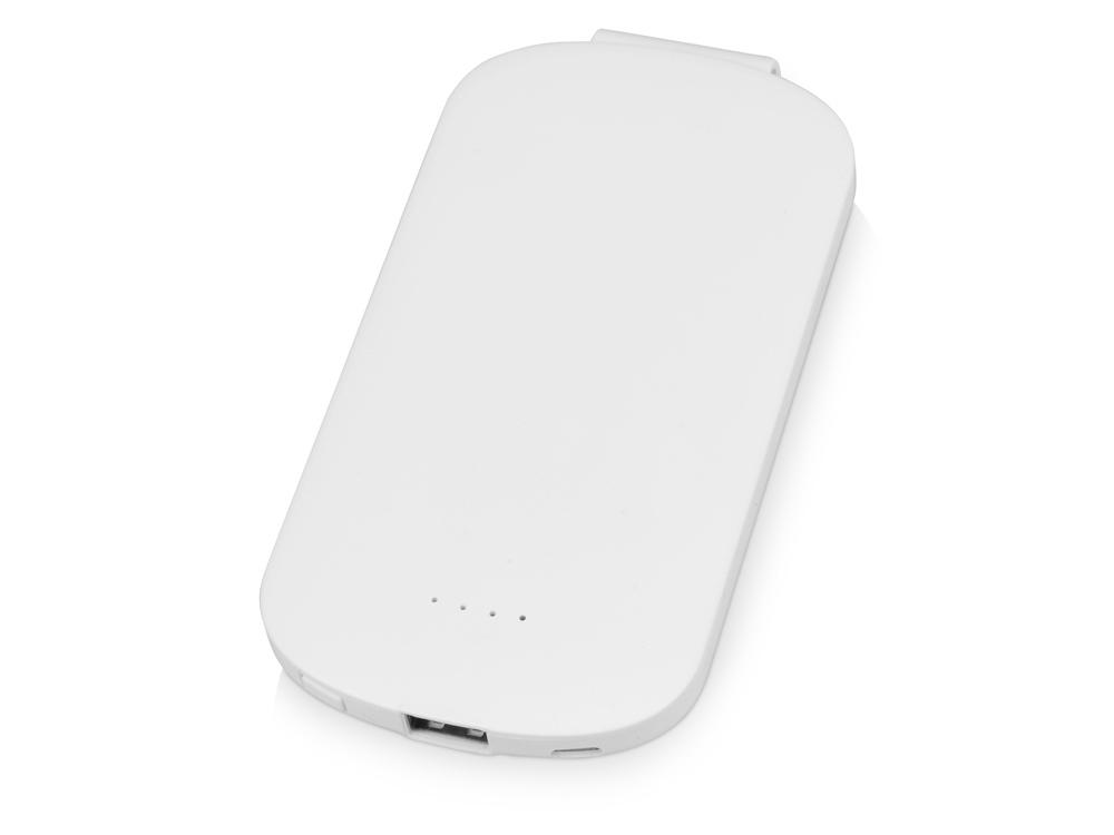 Портативное зарядное устройство Pin на 4000 mAh с большой площадью нанесения и клипом для крепления к одежде или сумке, белый