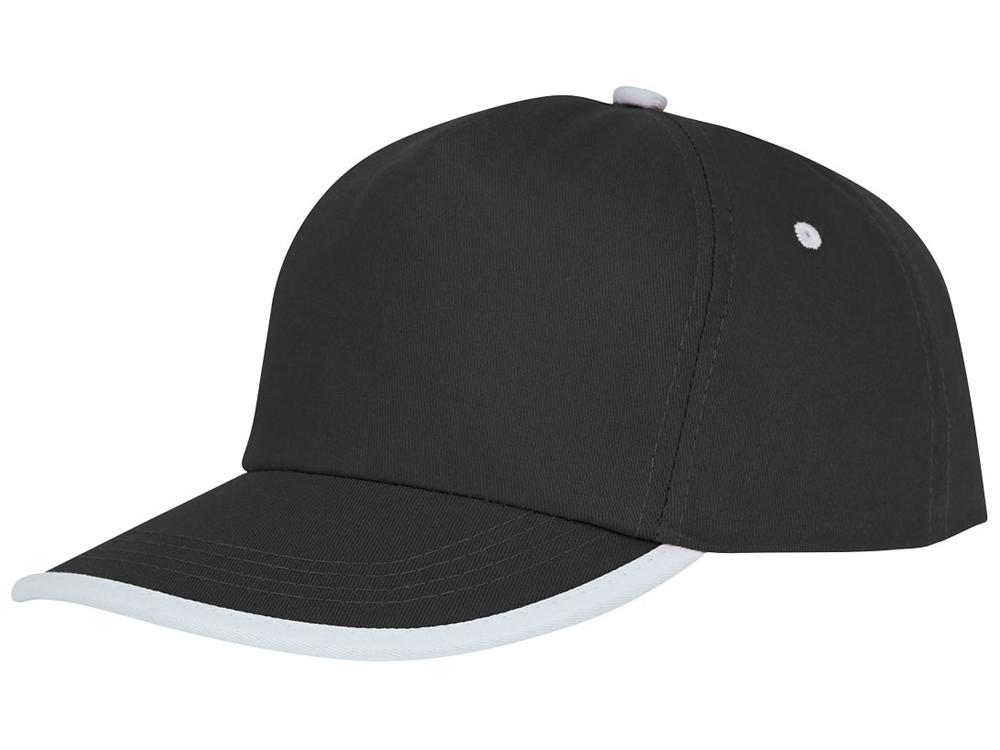 Пятипанельная кепка Nestor с окантовкой, черный/белый