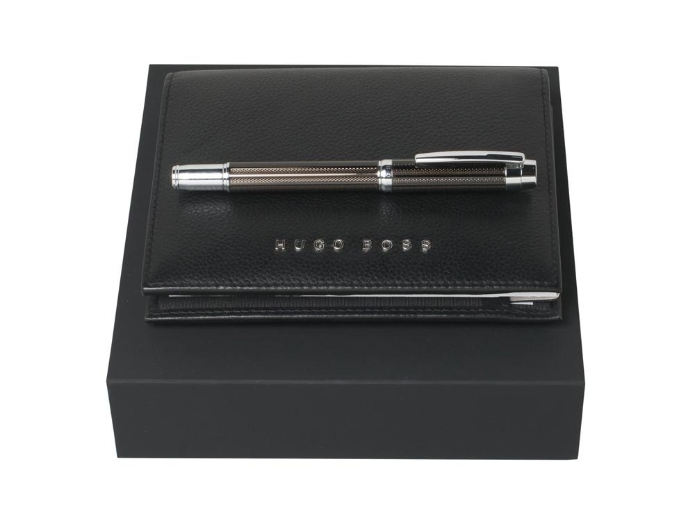 Подарочный набор: блокнот А6, ручка-роллер. Hugo Boss, черный