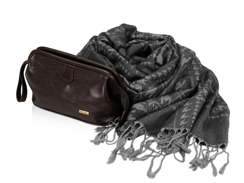 Подарочный набор: несессер, шарф, темный шоколад/серый
