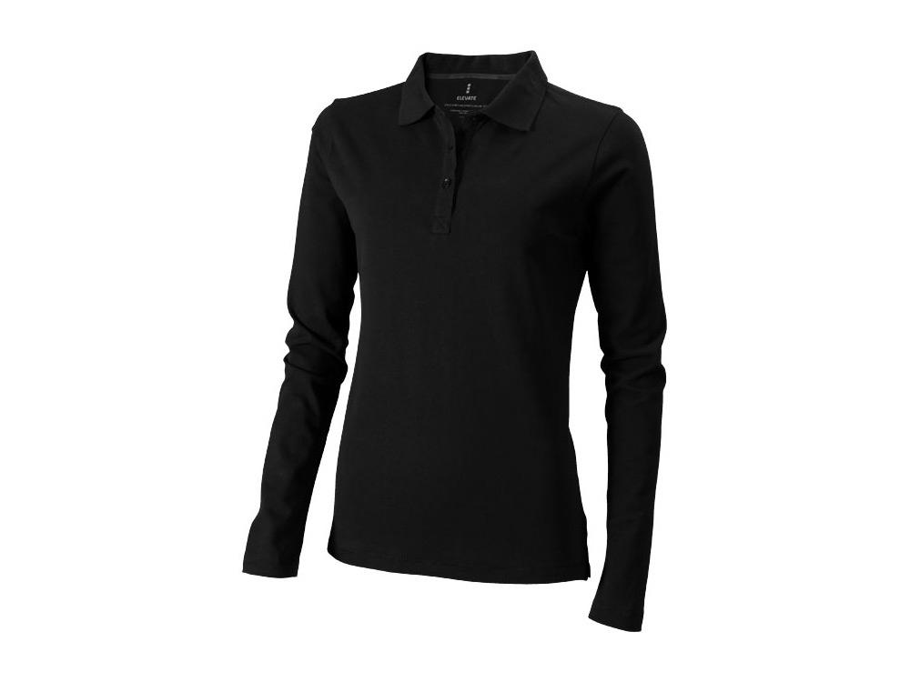 Рубашка поло Oakville женская с длинным рукавом, черный