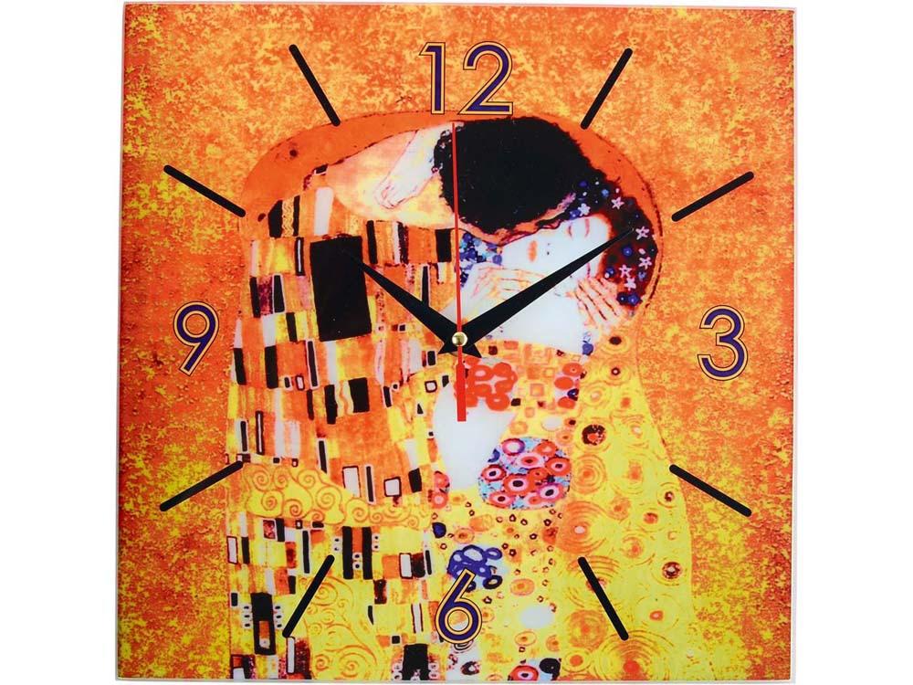 Часы настенные Климт. Поцелуй, оранжевый/желтый
