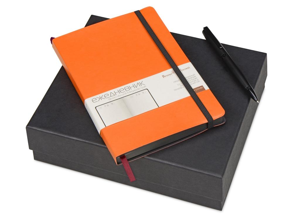 Подарочный набор Bruno Visconti Megapolis Soft: ежедневник А5 недат., ручка шарик., оранжев/черный