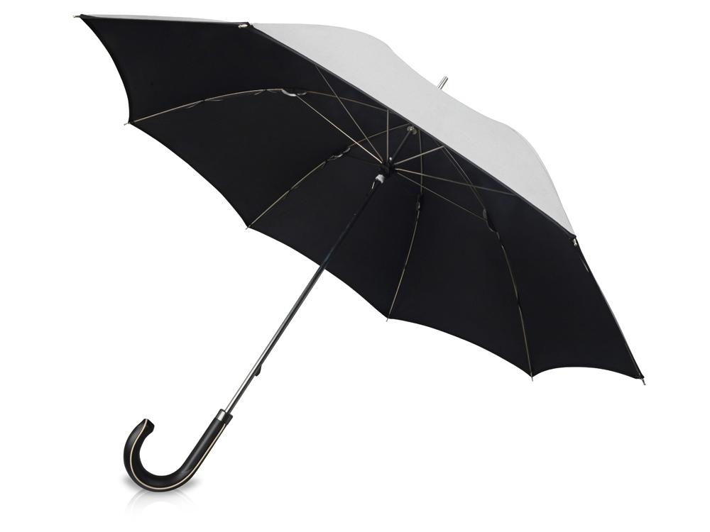 Зонт трость Ривер, механический 23, серебристый/черный