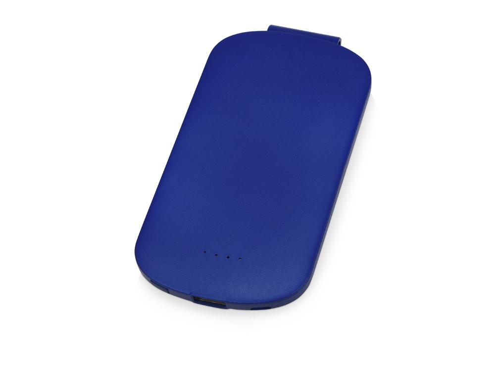 Портативное зарядное устройство Pin на 4000 mAh с большой площадью нанесения и клипом для крепления к одежде или сумке, синий