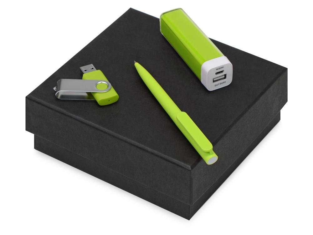 Подарочный набор On-the-go с флешкой, ручкой и зарядным устройством, зеленое яблоко