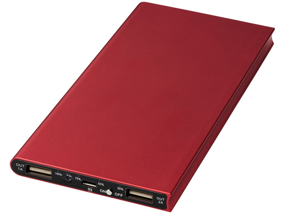 Алюминиевое портативное зарядное устройство Plate 8000мА∙ч, красный