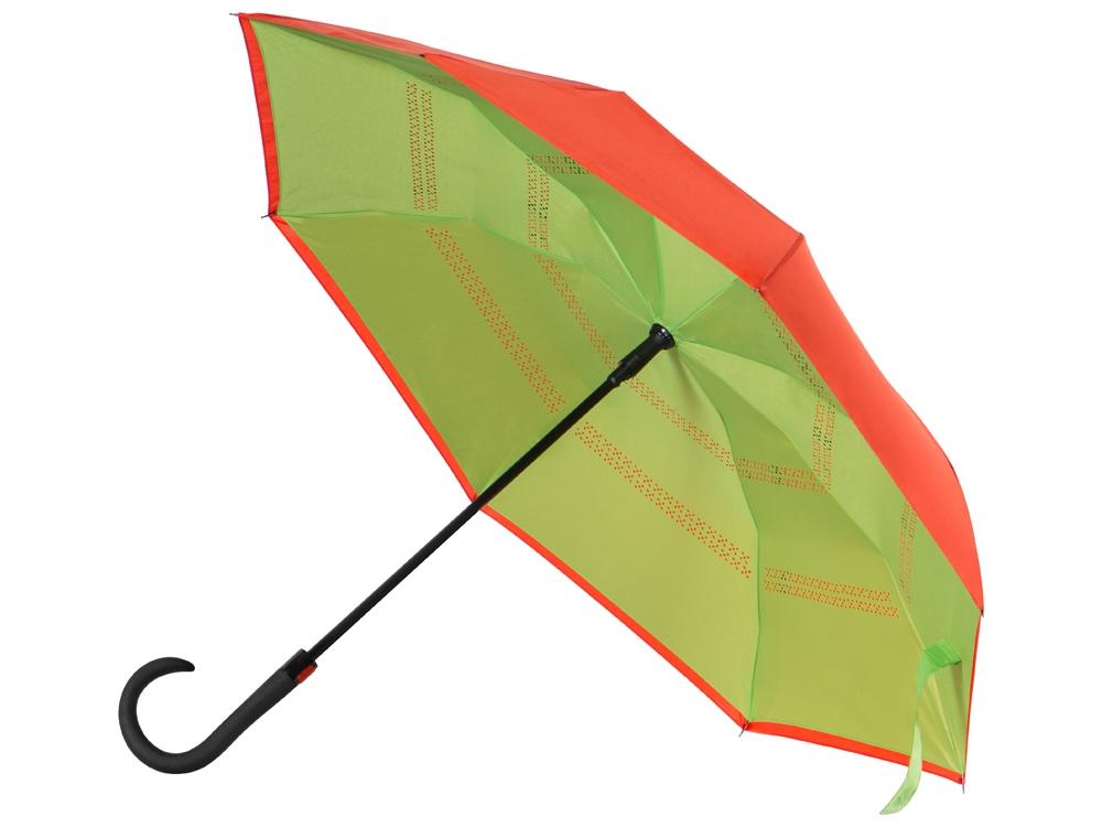 Зонт-трость наоборот Inversa, полуавтомат, оранжевый/зеленое яблоко