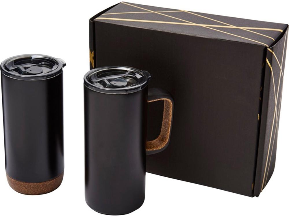 Подарочный набор Valhalla из медной вакуумной кружки и термокружки, черный