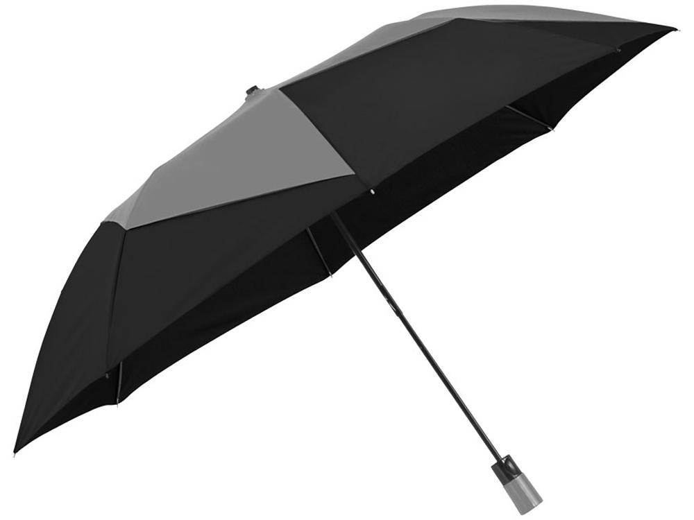 Зонт двухсекционный Pinwheel с автоматическим открытием, 23, серый/черный