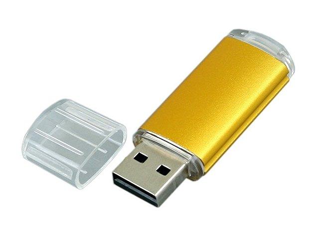 Флешка промо прямоугольной формы  c прозрачным колпачком, 16 Гб, золотистый