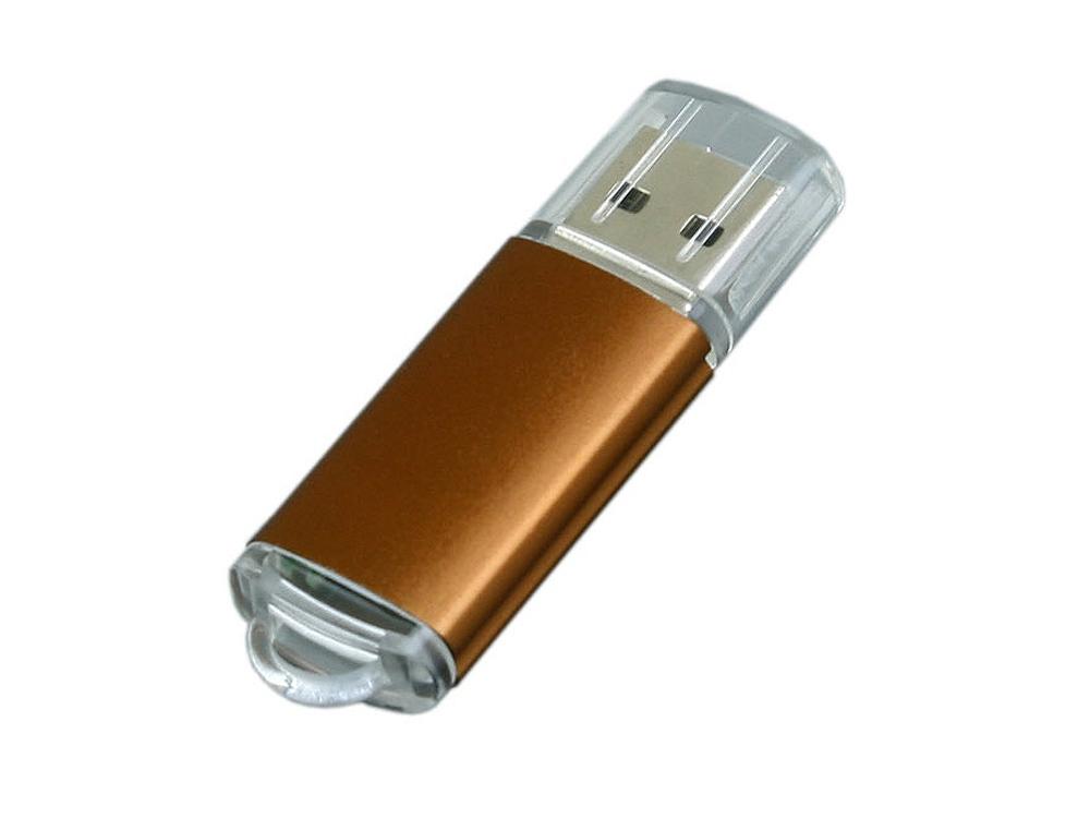 Флешка промо прямоугольной формы  c прозрачным колпачком, 16 Гб, коричневый