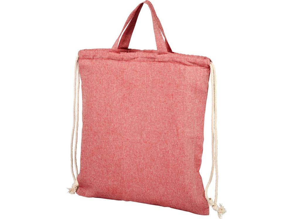 Рюкзак со шнурком Pheebs из 150г/м² переработанного хлопка, красный